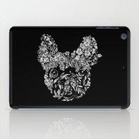 botanical iPad Cases featuring Botanical frenchie by Huebucket