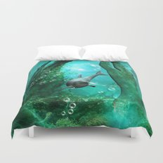 Swimming dolphin Duvet Cover