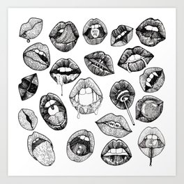 Hand Drawn Luscious Lips in Black and White Art Print