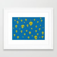 aliens Framed Art Prints featuring aliens by demii whiffin