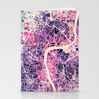london Stationery Cards featuring London Mosaic Map #2 by Map Map Maps