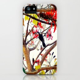 Bird in Coral Tree iPhone Case