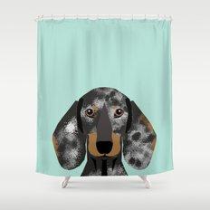 Doxie Dachshund merle dapple dog cute must have dog accessories dog gifts cute doxies dachshunds des Shower Curtain