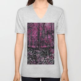 Van Gogh Trees & Underwood Pink Unisex V-Neck