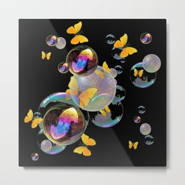 SURREAL GOLDEN YELLOW BUTTERFLIES  & SOAP BUBBLES Metal Print