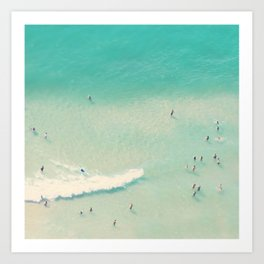 beach summer waves Art Print