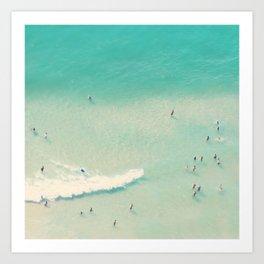 beach summer waves Art Print