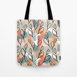 Black leaves and pastel background pattern Tote Bag