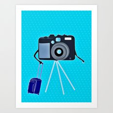 Camera on a photographic trip Art Print