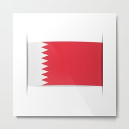 Flag of Bahrain. The slit in the paper with shadows. Metal Print