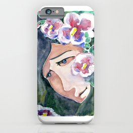 Girl portrait in flowers mallow. Рensive girl face. She dreams in the shade of a blooming garden. iPhone Case