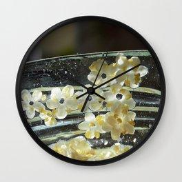 Elderflowers on jar rim Wall Clock