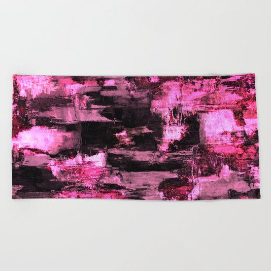 Harsh Pink - Neon Pink Abstract Beach Towel