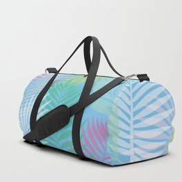 Layered Palms - Blue Duffle Bag