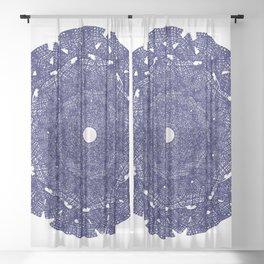 Denim Mandala Scribbles Sheer Curtain