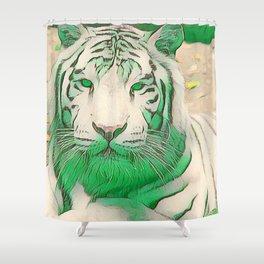 Green Tiger Shower Curtain