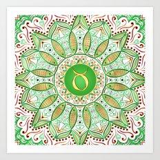 Zodiac Sign Taurus Mandala Art Print