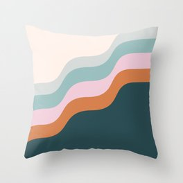 Abstract Diagonal Waves in Teal, Terracotta, and Pink Throw Pillow