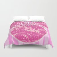 minnie mouse Duvet Covers featuring Minnie Mouse Princess Pink Swirls by Whimsy and Nonsense