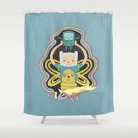 bmo Shower Curtains featuring Time for Adventure with Finn, Jake, BMO, and Lady Rainicorn by MattBlanksArt