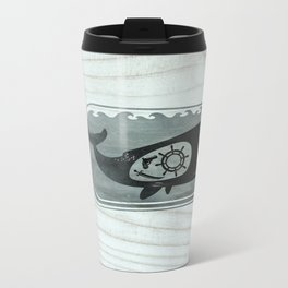 Whale in a Bottle | Ship's Wheel Metal Travel Mug