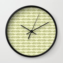Dutch clogs with tulip pattern green Wall Clock