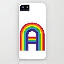 Rainbow Monogram - Letter A iPhone Case