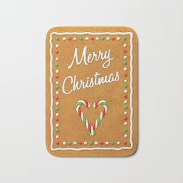 Merry Christmas Gingerbread Biscuit Bath Mat