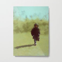 A young soldiers long lonely walk home by Brian Vegas Metal Print