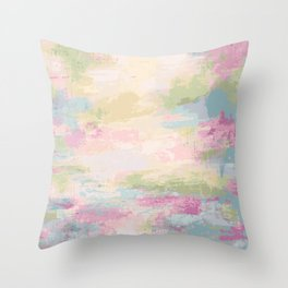 Pink Sea View Abstract Art in Pink, Blue, Turquoise  -  02 Throw Pillow