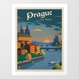 Vintage travel poster-Czech Republic-Prague. Art Print