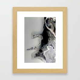 Black and Silver Fluid Macro Close-up Painting Framed Art Print