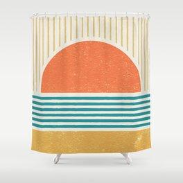 Sun Beach Stripes - Mid Century Modern Abstract Shower Curtain