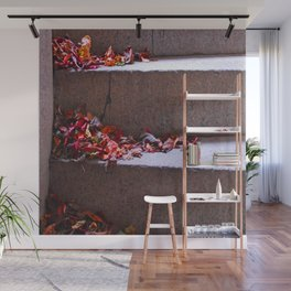 Red Leafs On Stairs Wall Mural