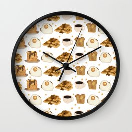 Breakfast Time Pattern on (Egg) White Wall Clock