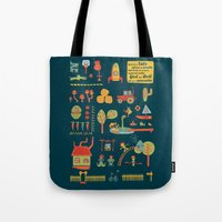 farm Tote Bags featuring farm by blablasah