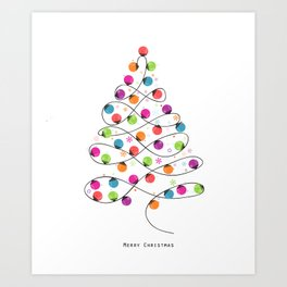 Colorful Christmas tree made of light bulb new year greeting card Art Print