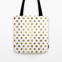 Luxurious faux gold leaf polka dots brushstrokes Tote Bag