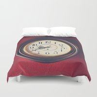 wall clock Duvet Covers featuring Old wall clock by Elisabeth Coelfen