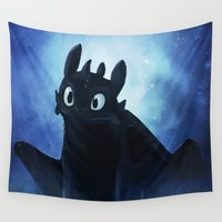 toothless Wall Tapestries featuring Toothless by Liancary