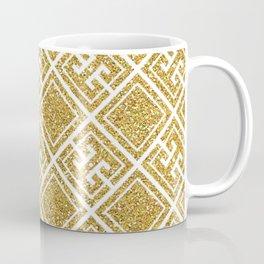 Gold Glitter Greek Pattern Coffee Mug