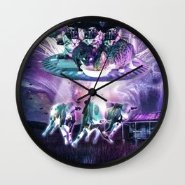 Cow Abduction By Cat UFO Wall Clock