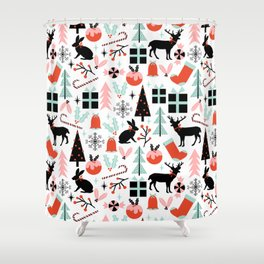 Christmas ornaments minimal holly reindeer candy cane christmas tree pattern print Shower Curtain