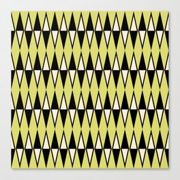 Mid Century Modern Diamond Pattern Black Chartreuse 231 Canvas Print