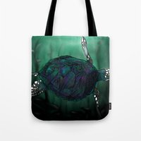 sea turtle Tote Bags featuring Sea Turtle by Ben Geiger