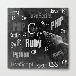 Programming languages black and white Metal Print