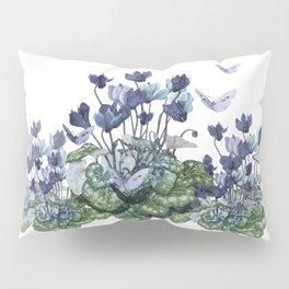 """""""Spring garden of blue cyclamen and butterflies"""" Pillow Sham"""