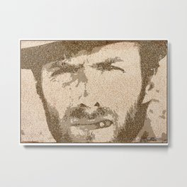Text Portrait of Clint Eastwood with full script of The Good The Bad and The Ugly Metal Print