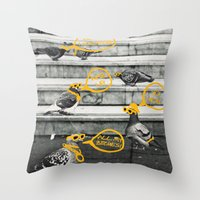 gangster Throw Pillows featuring Gangster Pigeons by Wonder of Wild