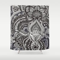 zentangle Shower Curtains featuring zentangle by paucarbajal